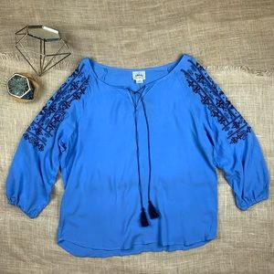 Ariat Top Blouse Lucy Embroidered Blue Tassel Boho